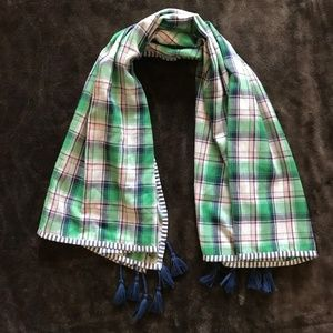 Abercrombie & Fitch Navy Green Plaid Tassel Scarf